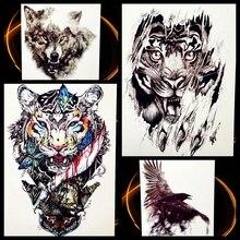 Fierce Tiger Animal Beast Waterproof Temporary Tattoo For Men Body Art Fake Flash Tattoo Stickers, Black Spray Tatoo Women Decal