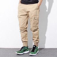 Hip Hop Mens Skinny Cargo Pants Black Khaki And Blue Joggers With Pockets On Side For