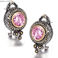 2017 Winter New vintage Classic Jewelry Round Shape Pink Kunzite stone 925 Sterling Silver Earrings E0415