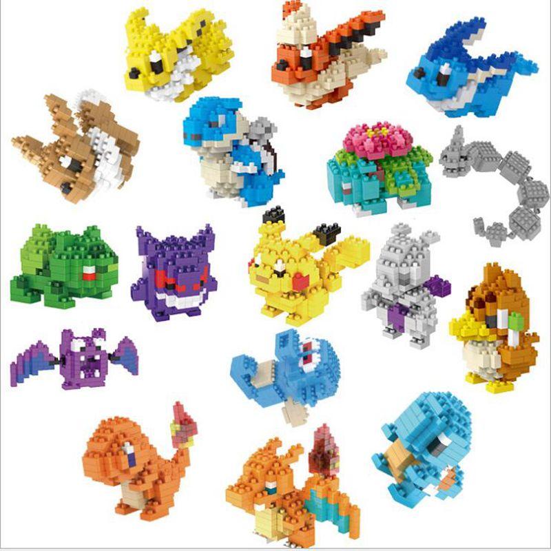 20 style Pocket Monster Building Blocks Action Figures toys Pikachu Squirtle Mewtwo Eevee Model Blocks Toys for children gifts 12pcs set children kids toys gift mini figures toys little pet animal cat dog lps action figures