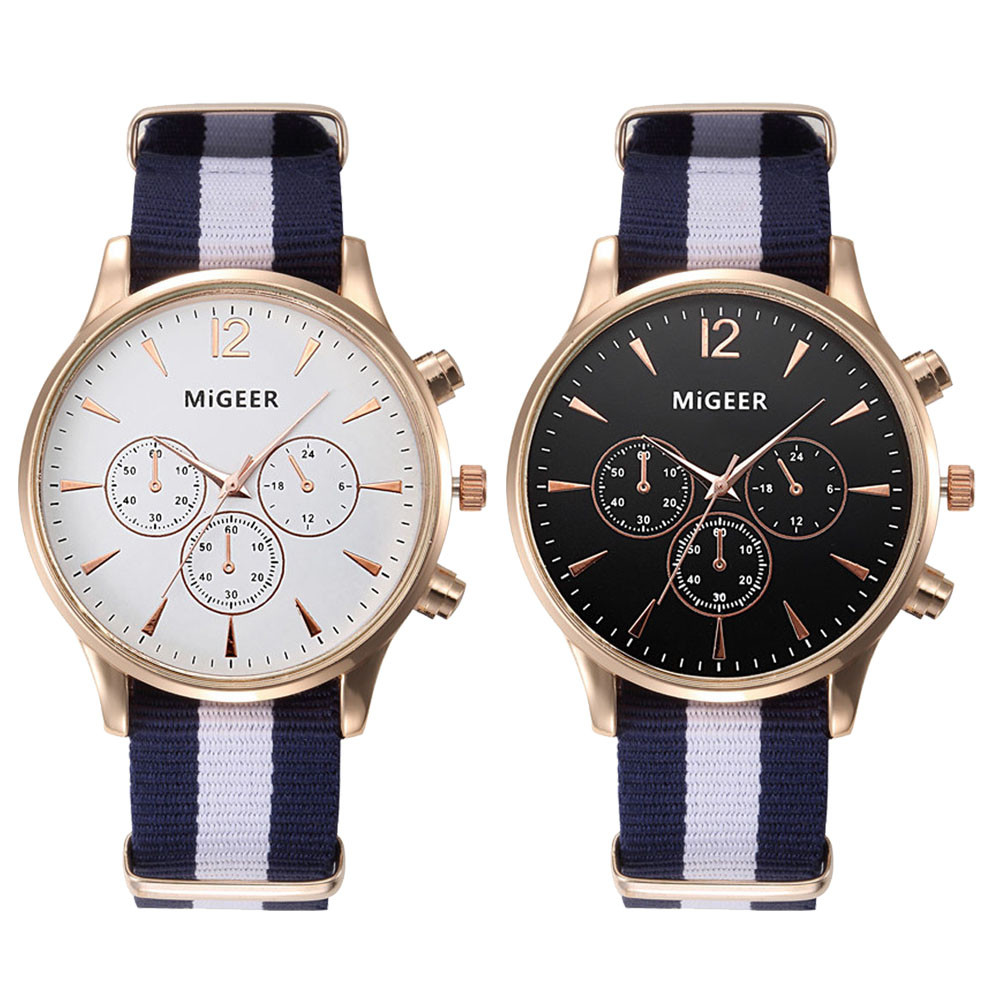 Luxury fashion black white strap watch men quartz watch casual males sport business wrist men watch