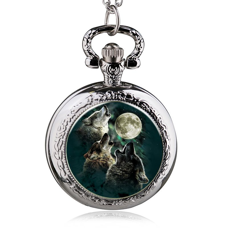New Fashion Best New Quartz Pocket Watches Three Wolf And Moon Pattern With Fob Chain Best Gift For Men Women HB958-3