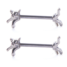 2PCS Hot Sale Stainless Steel Punk Nipple Rings Cute Animal Cat Barbell Sexy Women Nipple Rings Fashion Jewelry Body Piercing