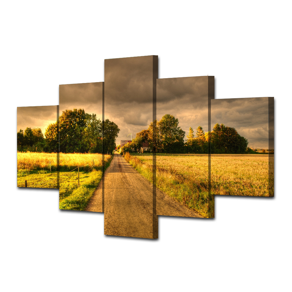 HD Printed Autumn Field Road Landscape Canvas Painting On The Wall Pictures For Living Room Unframed Modular Picture Hot Cuadros