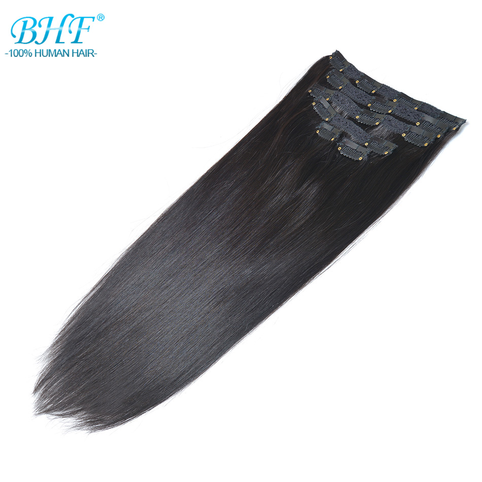 Bhf Clip In Human Hair Extensions Straight 100% Remy Hair Extension Clips 1b# 2# Dark Brown 613# Blonde Color Hair Extensions & Wigs