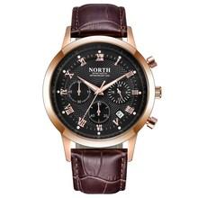 лучшая цена NORTH Men Watches Luxury Gold Genuine Leather Calendar Chrono Waterproof Male Dress Watch Quartz Wristwatch Casual Gift Clock