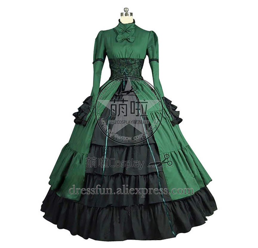Victorian Lolita Steampunk Corset Gothic Lolita Dress Green and Black Long Sleeve Ruffles Decorated Dress High Quality Costume