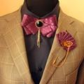 Nuevo Envío de la manera masculina de LOS HOMBRES Del Padrino de boda vestido de traje de novio corbata pajarita de negocios Británico CONJUNTO azul promoción
