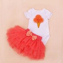 Newborn Clothing Set Summer Girls Bebe 0-2T Infant Skirt Bodysuits Tutu Romper Sets 2 Pieces Rope Newborn Clothing Set