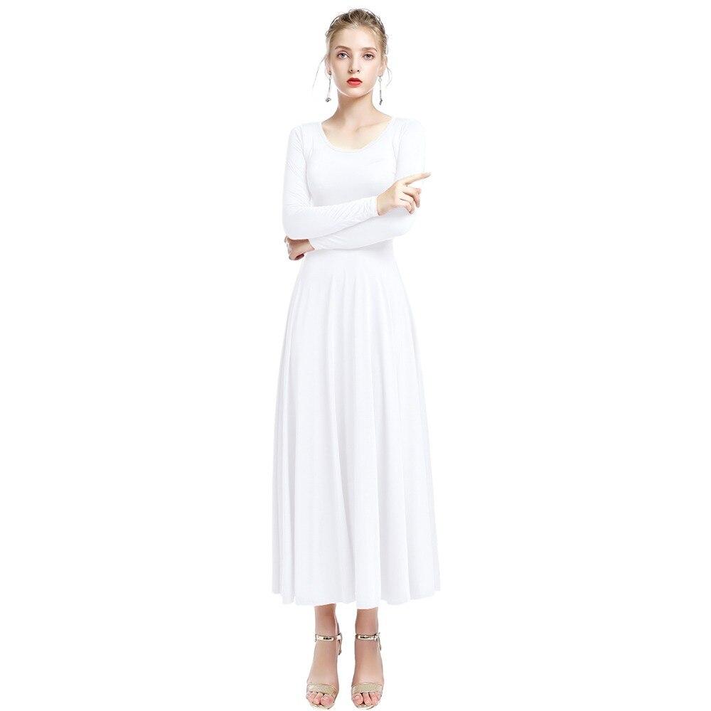 2019 Fashion New Women White Praise Dance Dress Long