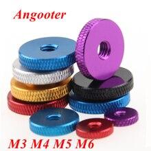 10 шт. M3 M4 M5 M6 Обычная ручная гайка с накаткой алюминиевая гайка для блокировки airflame алюминиевый сплав Гайка многоцветная