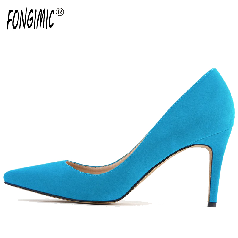 Multicolor Fashion women Comfortable Sexy solid  Flock pointed toe breathable thin heels high quality brand slip-on pumps Shoes fashion new spring summer med high heels good quality pointed toe women lady flock leather solid simple sexy casual pumps shoes