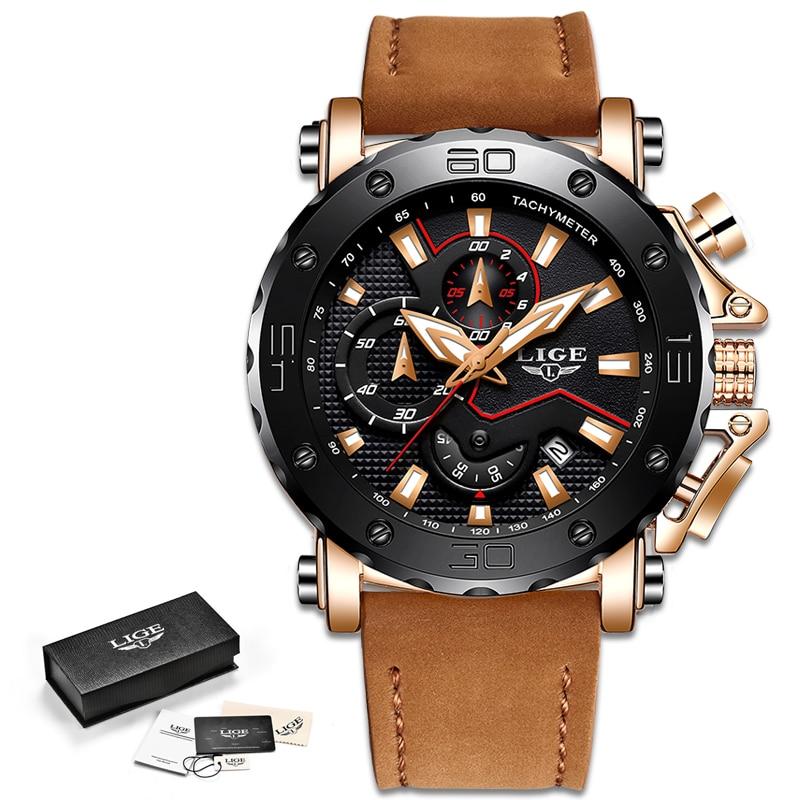 2019 LIGE Watch Luxury Brand Men Analog Leather Sport Watches Men's Army Military Watch Male Date Quartz Clock Relogio Masculino