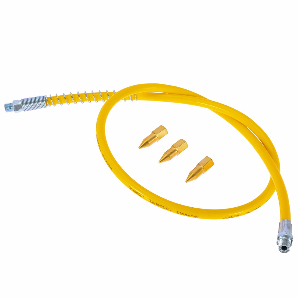 Mayitr Heavy Duty Yellow Rubber Grease Hose High Pressure Long Extension Whip With Grease Beaks