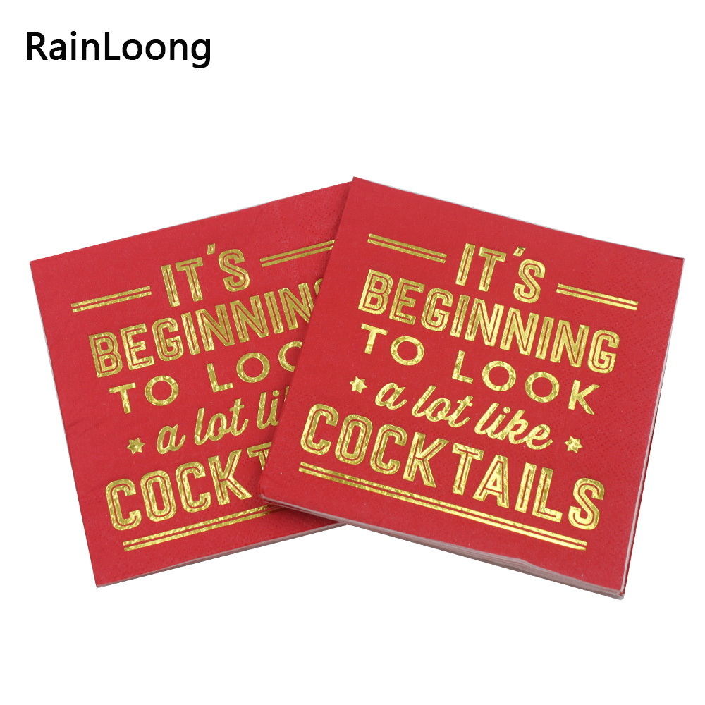 [RainLoong] 3Plys pijača zlata folija papirnati prtiček začenja koktajle, pijte serviette za depilacijo 25cm * 25cm