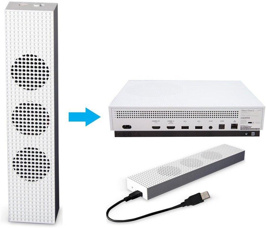 Ventilador con 2 puertos USB Hub y 3 H/L velocidad ventilador para Xbox One Slim xbox One S Gaming Console fresco