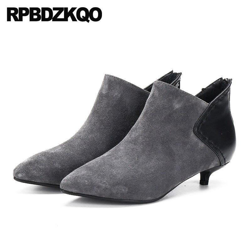 e0b96f2f Gamuza Zapatos Genuino Gris gris Invierno Lujo De Punta 2018 Botines Mujer  Negro Otoño Marca Corto Estrecha ...