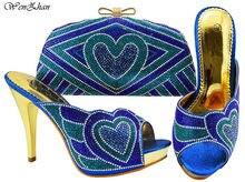 84cfe0186a6f10 Date De Mariage Strass Chaussures À Talons Hauts WENZHAN Italien Chaussures  Assorties et Sac Ensemble pour Le Nigeria Partie Ble.
