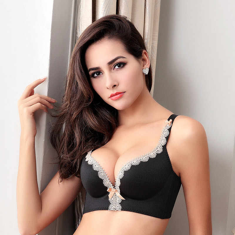 3d8d175e44 ... Seamless Women Bra One-Piece Push Up Bra Lace Bralette Adjusted Lingerie  Plus Size C