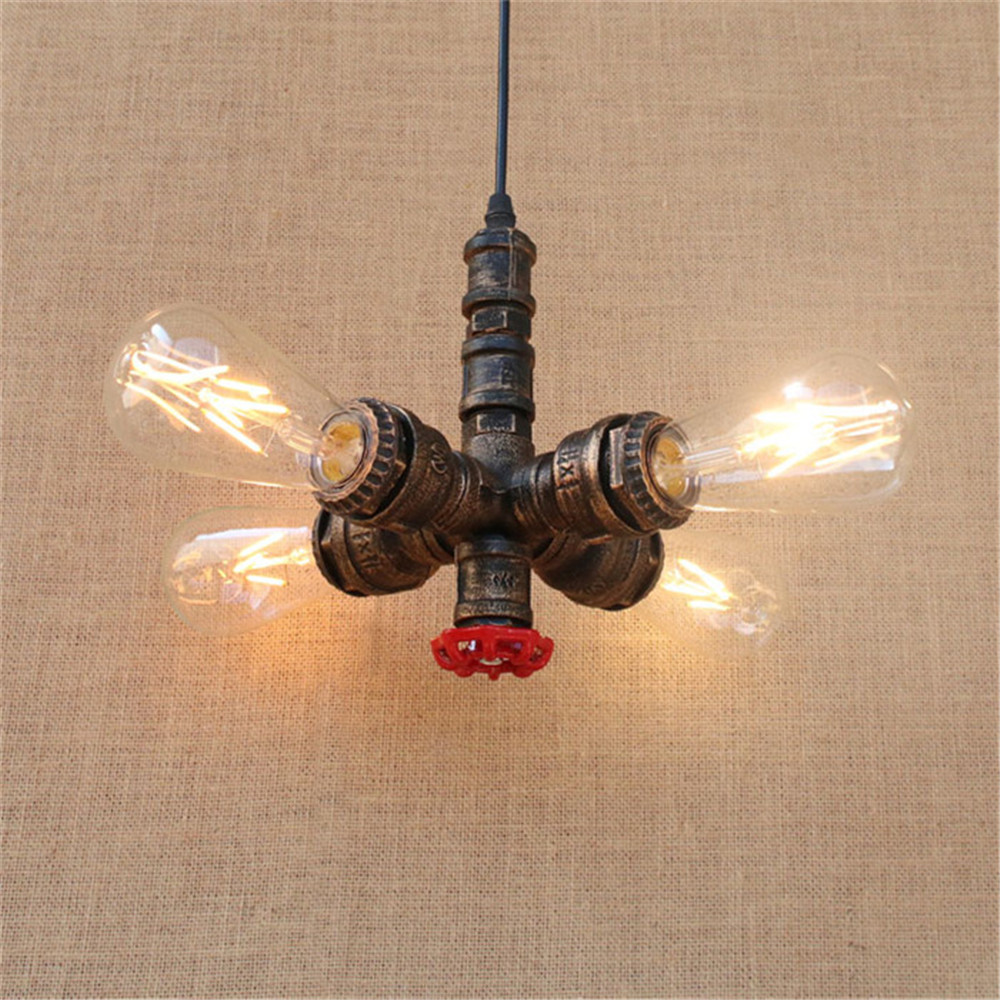 Industrial Vintage 4pcs E27 Edison bulb water pipe pendant lamp Rustic Retro Lustres hanging lighting for Bar Cafe shop fixture vintage pendant lights retro water pipe pendant lamp e27 holder edison bulbs lighting fixture for warehouse diningroom ktv bar