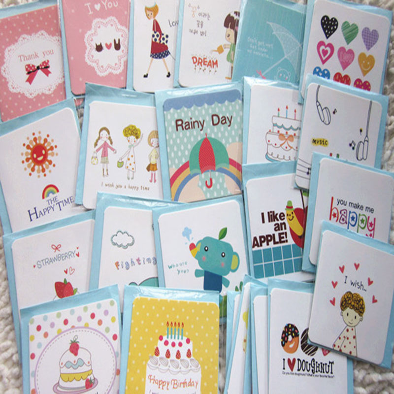 168pcs Mini Kawaii Greeting Card Birthday Love Writing Blessing Cards Festival Gift Simple Paper Card+Envelop 7*7cm Cartoon Card