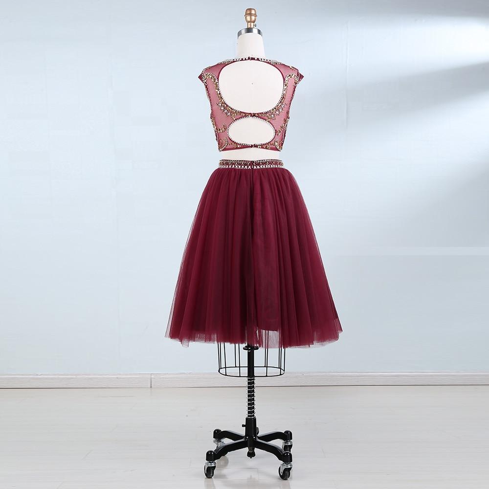 BeryLove İki Adet Scooped Kısa Mezuniyet Elbiseleri Boncuk İnciler - Özel Günler Için Elbise - Fotoğraf 2