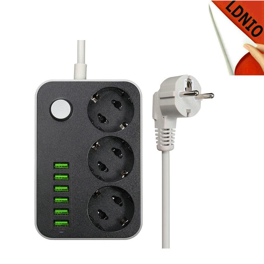 Erdung Überspannungsschutz 3 EU Steckdose Erweiterungssteckdose Mit 6 USB Ladegerät Adapter Dock 5 V 3.4A Für Handy
