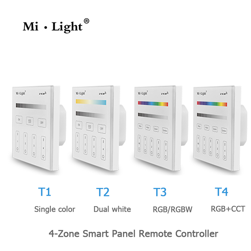 Milight Led Panel Remote Controller 2.4G Wireless 4 Zone RF Dimmable Dimmer Remote Touch Panel Wall-mounted Controller T1 T4