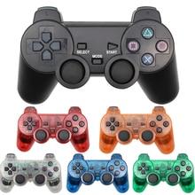 لسوني PS2 بلوتوث وحدة تحكم لاسلكية شفافة واضحة غمبد لسوني بلاي ستيشن 2 عصا التحكم 2.4G الاهتزاز تحكم