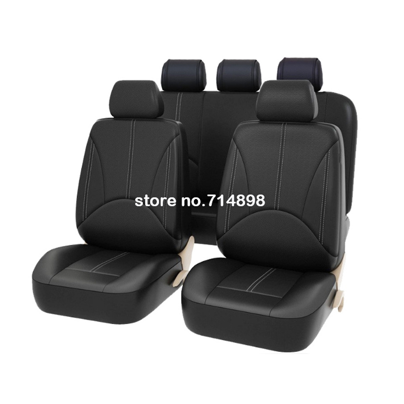 Carnong car seat cover leather pu universal waterproof cushion black interior accessory for car auto front rear seat covers set цена