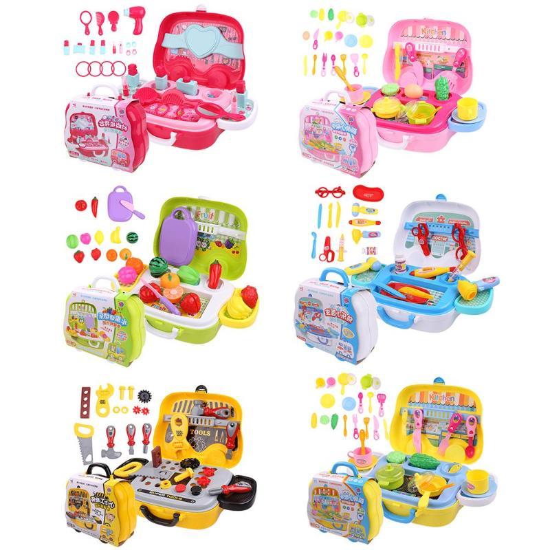 цены на Children Play House Toy Doctor Equipment Girls Makeup Set Fruit Plastic Baby Classic Kids Toys Pretend Playset Educational Toys  в интернет-магазинах