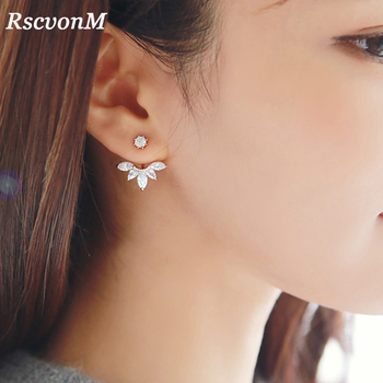 RscvonM New Hot Crystal Leaf Ear Jacket Earrings Gold Color Silver Cuff Stud Earrings for Women Statement Jewelry Ear Studs золотые серьги по уху