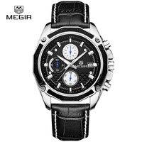 2017 Megir Men Watches Luxury Leather Brand Famous Chronograph Watches Men Casual Watch Relogio Masculine