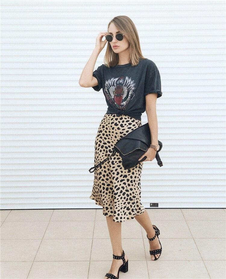 Hot Sale High Waist Leopard Midi Skirt Female Hidden Elasticized Waistband Silk Satin Skirts Slip Style Animal Print Skirt Women 8