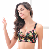 One piece rosette brushed one piece seamless bra without rims Adjustable comfortable breathable gathered underwear bra cotton