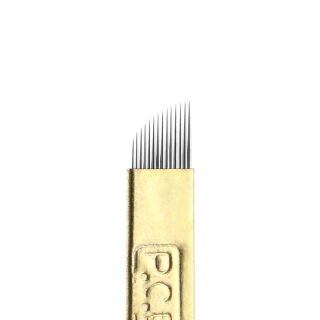 5 Pcs/lot 12/14/19 Pins Bevel U Tattoo Eyebrow Needles Microblading Permanent Makeup Manual Blades Tools NEW 4