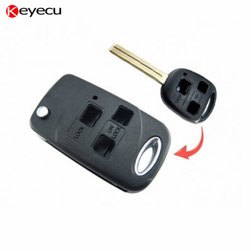 Keyecu Brand New Modified Replacement Shell Foldable Flip Remote Key Case 3 Button for Lexus ES GS RX SC LS