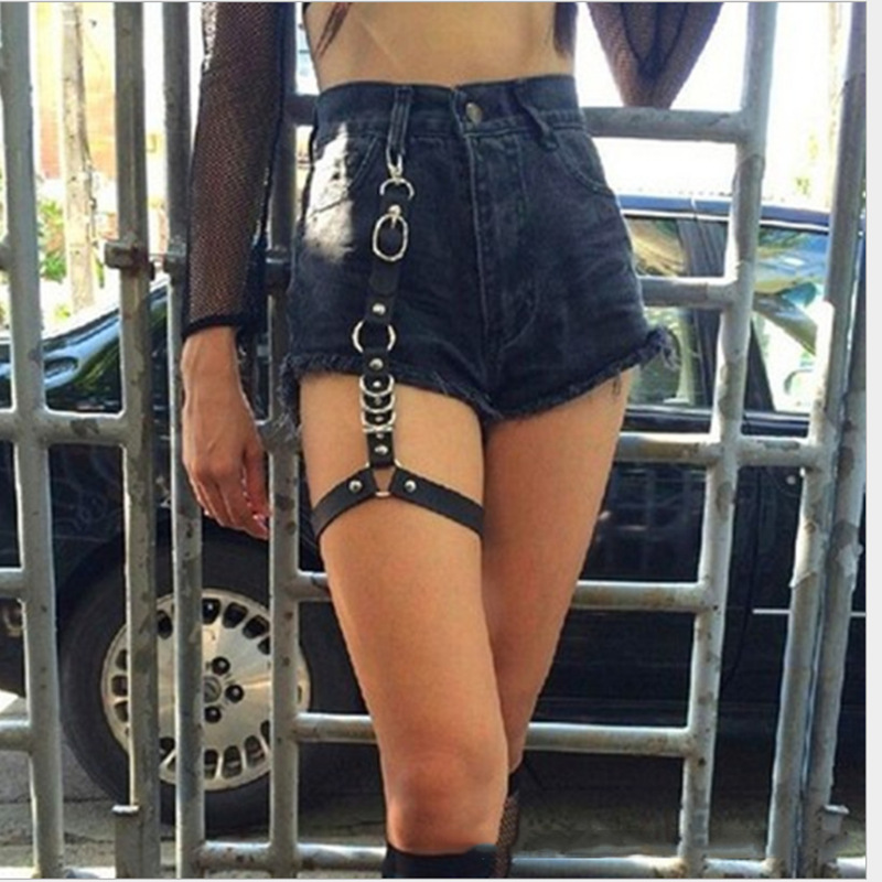 Women Nice Sexy Punk Goth Heart PU Leather Elastic Garter Belt Leg Thigh Ring Clothing Accessory Spring Summer Leg Harness