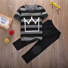 Kids baby Hot 2016 2 brand cartoon children clothing set plaid kids shorts + t shirts 2pcs boys sport suit set fit for 4-14year