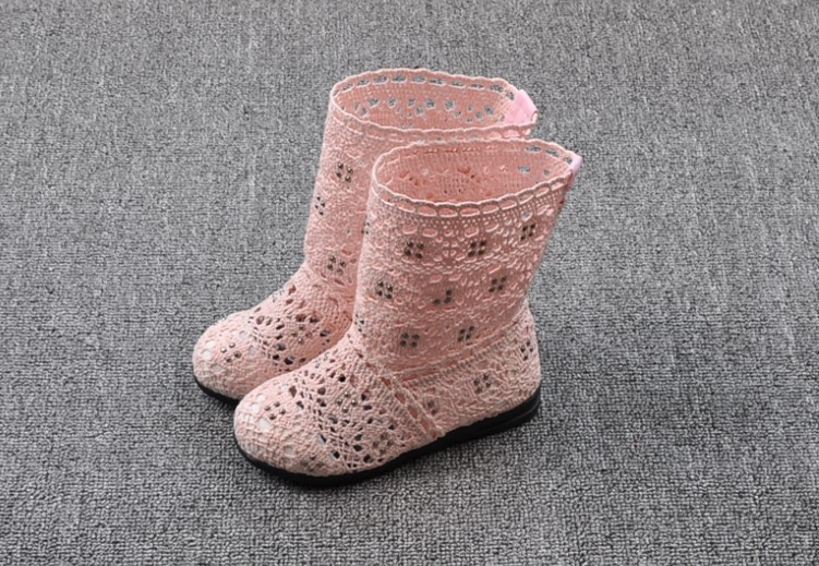 (A241)18 Classical Kids Shoes Summer Girls Boots Knitting Hollow Children Shoes Fashion Network Boots For Girls 9