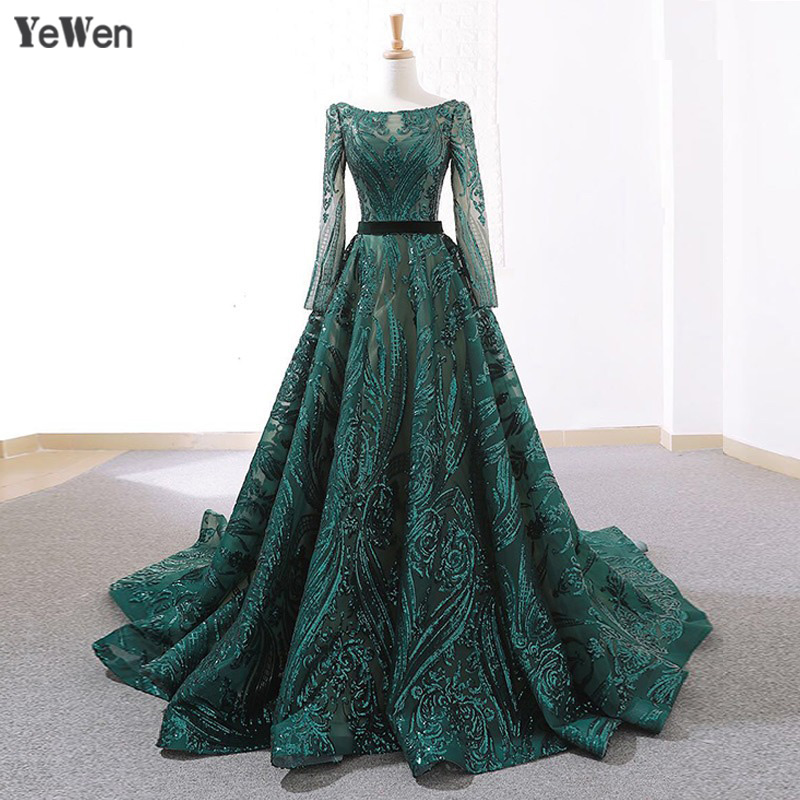 Dubai New Green Vintage Long Sleeve   Evening     Dresses   2019 A-Line Sequined Luxury Sparkle   Evening   Gowns Backless Real Photo 66691