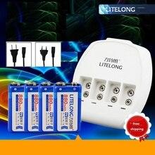 4 unids 9 V 880 mAh batería de litio de 9 V Ni-mh/Ni-cd/batería de iones de litio cargador universal