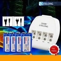 4pcs 9V 880mAh lithium battery +9V Ni MH / Ni Cd / lithium ion battery universal charger