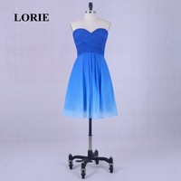 LORIE Short Homecoming Dress Gradual Sweetheart Pleats A Line Chiffon Short Mini Prom Dress Blue Party Gown
