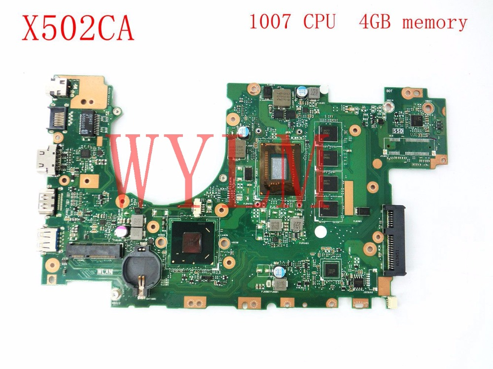 free shipping X502CA with 1007CPU 4GB memory mainboard For ASUS X502CA X402CA laptop motherboard 60NB00I0-MBC080 tested good laptop motherboard for asus x502ca x402ca rev2 1 with 1007 cpu fully teated mainboard 60nb00i0 mb5080 mb 8 memory