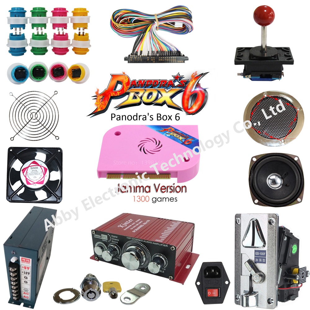 Arcade parts Bundles kit With GOD OF GAMES 900 in 1 PCB illuminated Joystick led
