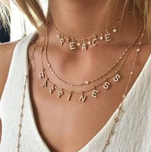DUOYING Zircon Pave Letter Necklaces Personalized Custom Name Necklaces with names Balls Chain Necklaces NLK120