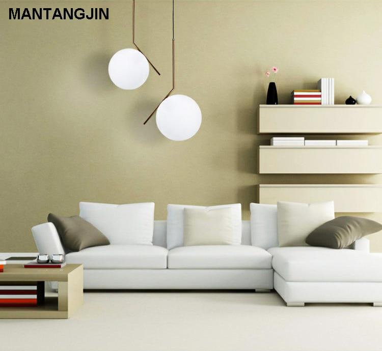 € 73.45 35% de réduction|E27 style moderne salon chambre minimaliste  restaurant pendentif lumière nordique vêtements décoration boule de verre  ...