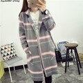 2016 new hot sale da mulher outono inverno estilo longo solto malha cardigans casacos mulher turn-down listrado malha casacos casaco 3 cores