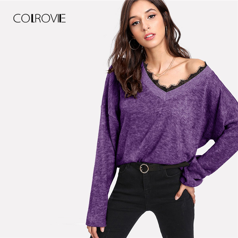 57dee8e48d COLROVIE Green Solid Lace Trim V Neck Sexy Knitted Sweater Women 2018 Fashion  Pullover Casual Winter